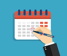 Calendar With Circled Date, Appointment. Arm Marks Holiday In Calendar On The Wall. Schedule Of Events On Day, Week, Month And Year. Important Office Plan. Banner For App, Deadline, Poster. Vector