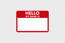 Hello My Name Is Sticker Tag V...