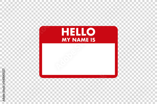 Fotografia, Obraz hello my name is sticker tag vector