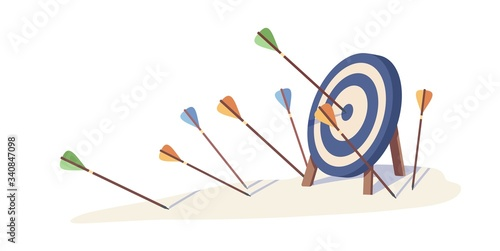 Cartoon arrows missed hitting target mark isolated on white background Wallpaper Mural