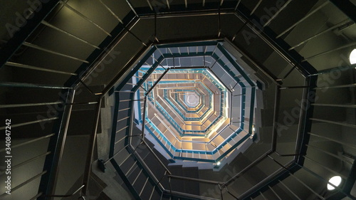 Fotografia, Obraz spiral staircase in the center of the museum tower