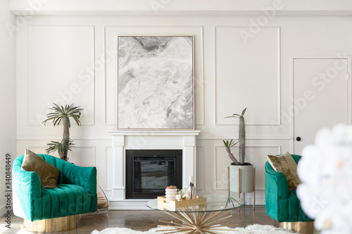 Photographie Luxurious white living room