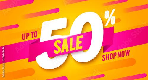 Photo Vector Illustration 50 Percent Off Sale Banner
