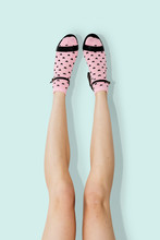 Woman Wearing Pink Hear Socks Psd