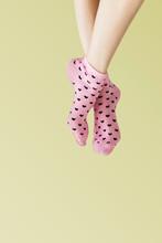 Woman In Pink Heart Socks Psd