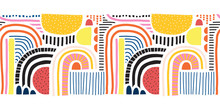 Seamless Vector Border Abstract Doodle Shapes Collage. Cute Geometric Shapes And Doodles Repeating Pattern Blue Red Yellow Black Pink Orange On White. Modern Line Art For Kids Decor, Fabric Trim, Card