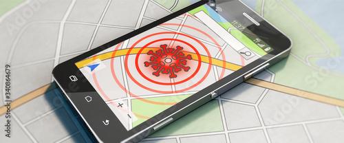 Smartphone mit Coronavirus-Tracking-App Wallpaper Mural