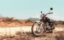 Motorbike Under Sky. Vintage Color Photo Effect Added