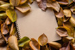 Abstract notebook with autumn leaf on wooden table in the garden, Vintage picture tone