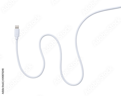 Lightning cable placed on a white background Fototapete