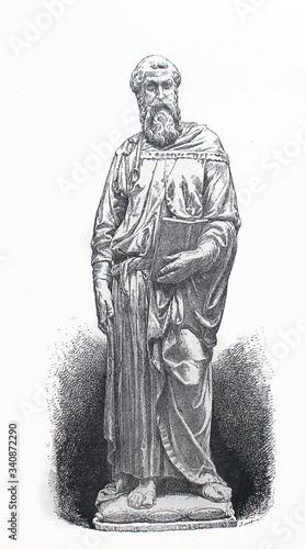 Платно The statue of the Saint Marc by Donatello in the old book La Renaissance, by E