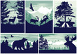Mountain and forest animal wildlife vector outdoor adventure silhouette labels collection