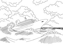Ship Wreck Graphic Black White...
