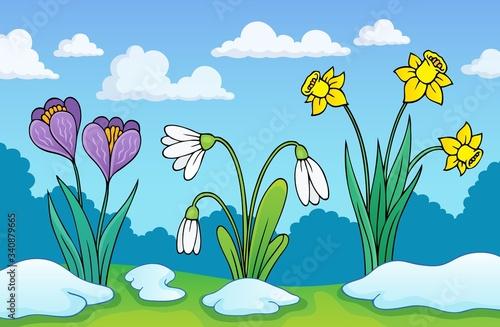 Obraz na plátně Early spring flowers theme image 1