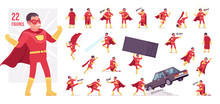 Male Super Hero In Classic Red Costume Character Set. Heroic Strong Brave Warrior, Superpower Man With Combat And Battle Skills, Successful Guy. Full Length, Different View, Gestures, Emotions, Poses