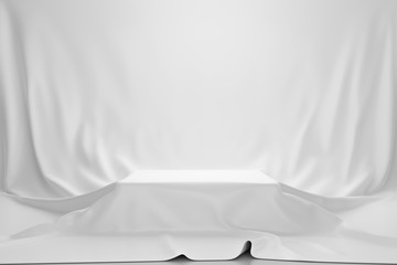 White luxurious fabric or cloth placed on top pedestal or blank podium shelf on vintage background with luxury concept. Museum or gallery backdrops for product. 3D rendering.