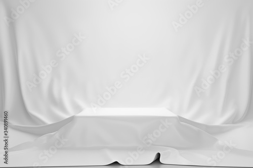 Obraz White luxurious fabric or cloth placed on top pedestal or blank podium shelf on vintage background with luxury concept. Museum or gallery backdrops for product. 3D rendering. - fototapety do salonu