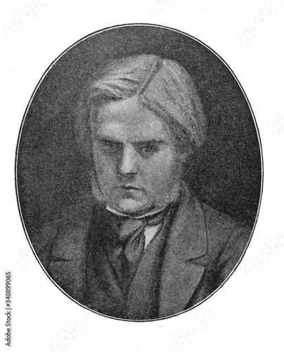 A portrait of an English painter William Holman Hunt in the old book the History of Painting, by R Wallpaper Mural