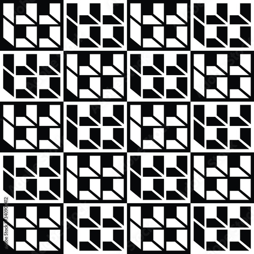 Fototapety, obrazy: square box black and white illusion pattern