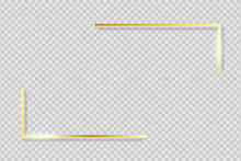 Golden Frame Elements. Gold Angles Border On Transparent Background With Shadow. Rectangle Corners With Glow Shine And Light Effect. Vector Illustration.