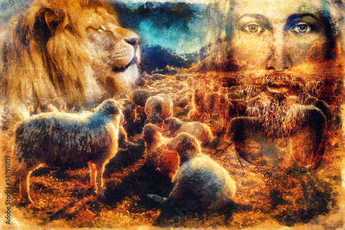Valokuva Jesus The Good Shepherd, Jesus and lambs and lion.