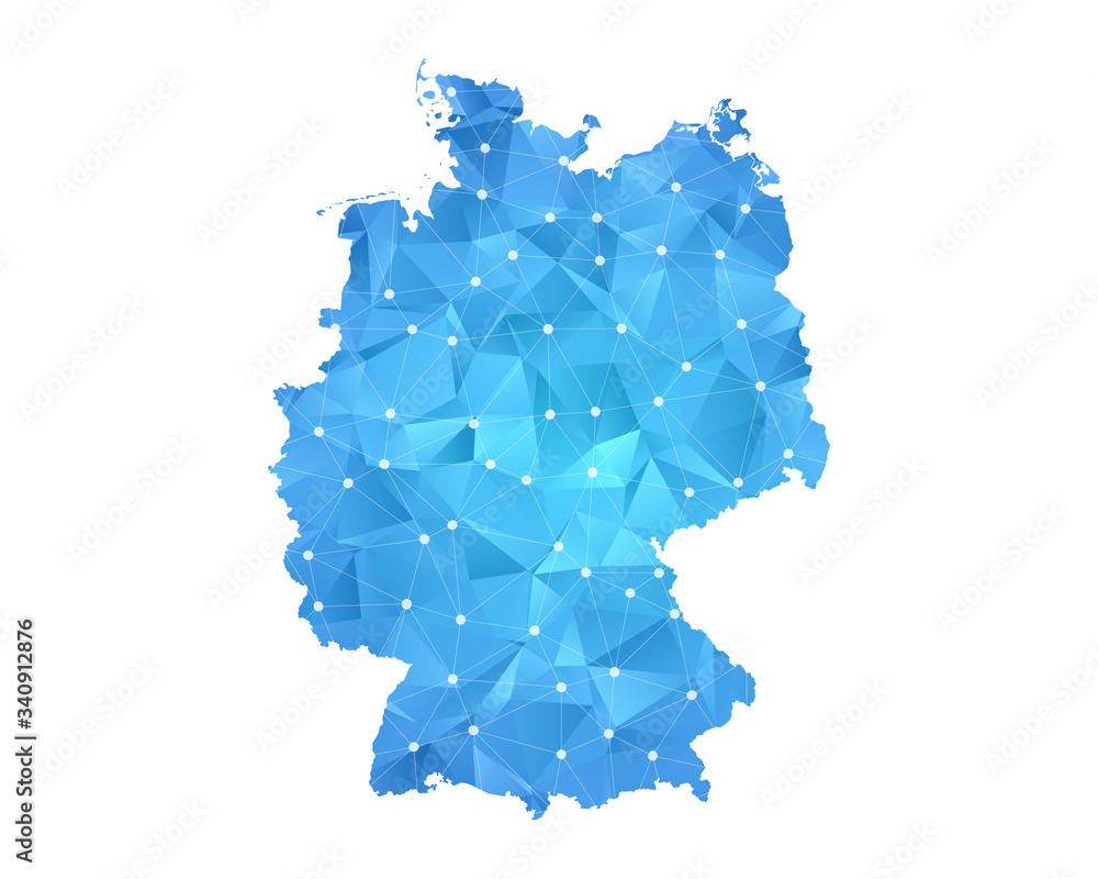 Fototapeta Germany Map - Abstract geometric rumpled triangular low poly style gradient graphic on white background , line dots polygonal design for your . Vector illustration eps 10.