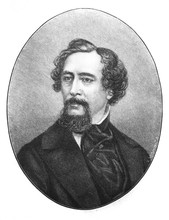 The Charles Dickens' Portrait, An English Writer And Social Critic In The Old Book The Charles Dickens's Life, By A. Annenskaya, 1892, St. Petersburg