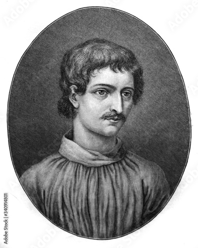 The Giordano Bruno's portrait, an Italian Dominican friar, philosopher, mathematician, poet in the old book the Giordano Bruno's life, by Iu Wallpaper Mural