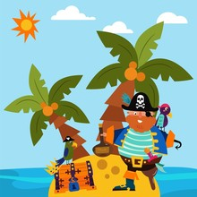 Pirate Character Male Standing Alone Island, Parrot Bird Flat Vector Illustration. Insular Treasure Chest, Palm Tree Tropical Beach And Ocean Side. Cute People Sea Raider Guard Jewel Casket.