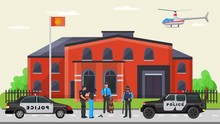 Police Detention Criminal, Militia Arrest Offender Flat Vector Illustration. Police Department Force Vehicle And Truck. Military Helicopter Flies City Building, Cynologist Protect Peace Inhabitant