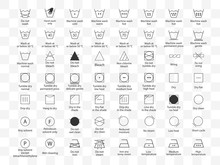 Laundry Symbols Icon Set. Vect...
