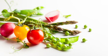 Fresh Green  Peas Pods, Radish, Green Asparagus, Tomatoes