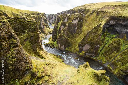 Beautyfull green canyon in Iceland Fototapet