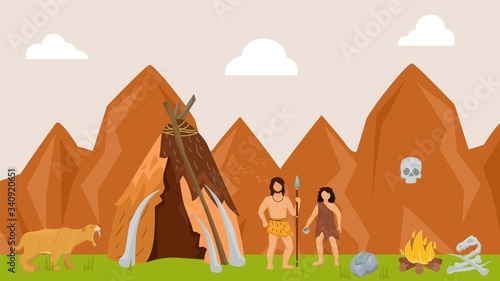 Ancient character male female hunting prehistoric tiger flat vector illustration Tablou Canvas