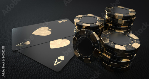 Fototapeta Casino Chips And Aces, Modern Black And Golden Isolated On The Black Background