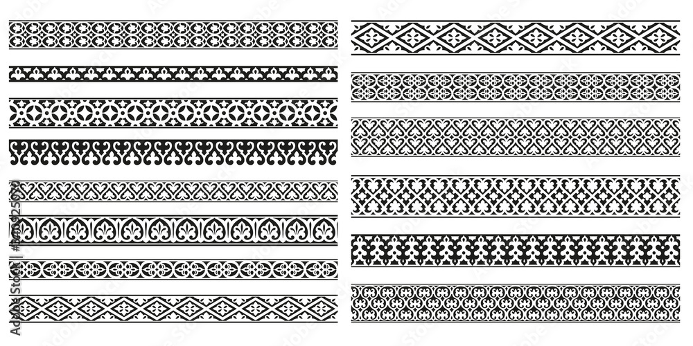 Fototapeta Decorative seamless borders vintage design elements set