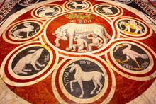 Siena Italy, Roman Wolf With Remus And Romulus, Founders Of Rome Marble Mosaic Floor In Siena Cathedral