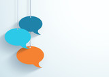 Speech Bubbles Hanging On Strings Flat Color Vector