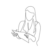 Woman With Paper Document In H...