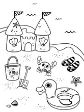 Coloring Page For Kids In Beach Theme. Vector Illustration.