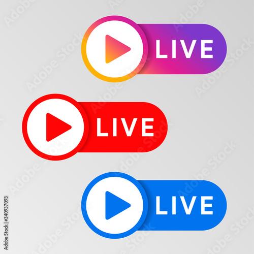 Social media live badge Fototapeta