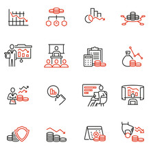 Vector Set Of Linear Icons Related To Profit Decline, Finance Segression, Stagnation. Mono Line Pictograms And Infographics Design Elements
