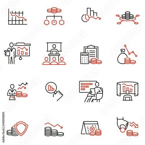 Photo Vector Set of Linear Icons Related to Profit Decline, Finance Segression, Stagnation