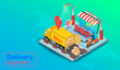 Delivery express by truck and scooter on computer laptop with GPS. Online food order and package in E-commerce by website global. isometric flat design. Vector illustration