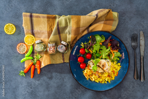 Baked salmon, vegetables and sorrel sauce accompanied oatmeal, lentil and cooked Wallpaper Mural