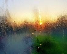 Wet Glass Window In Rainy Seas...