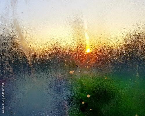 Wet Glass Window In Rainy Season At Sunset Wallpaper Mural