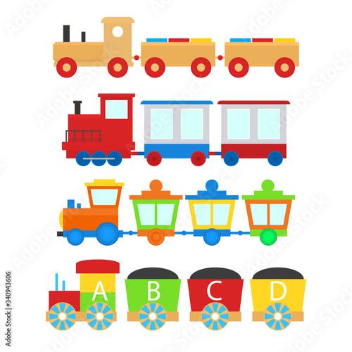 Fotografia Cartoon Train Toy Children Set Concept. Vector