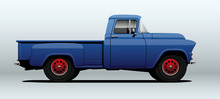 Pickup Truck In Vector. Side View With Perspective.