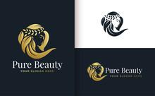 Woman Hair Salon Gold Gradient...